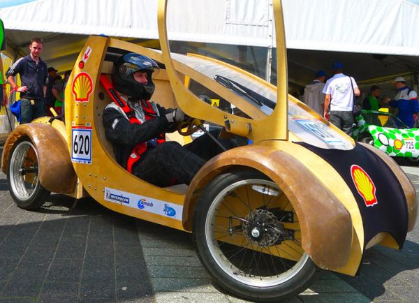 race car made out of cardboard and plywood by Aston University